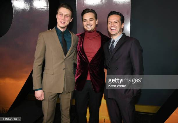 Actors George MacKay DeanCharles Chapman and Actor Andrew Scott attend the premiere of Universal Pictures' 1917 at TCL Chinese Theatre on December 18...