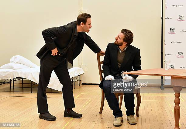 Actors George Merrick and William Connell perform during the Ring Twice For Miranda cast photocall at The New 42nd Street Studios on January 10 2017...