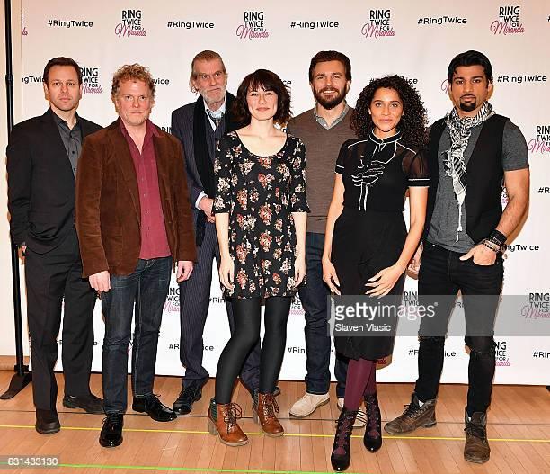 Actors George Merrick Daniel Pearce Graeme Malcolm Katie Kleiger William Connell Talia Thiesfield and Ian Lassiter attend Ring Twice For Miranda cast...