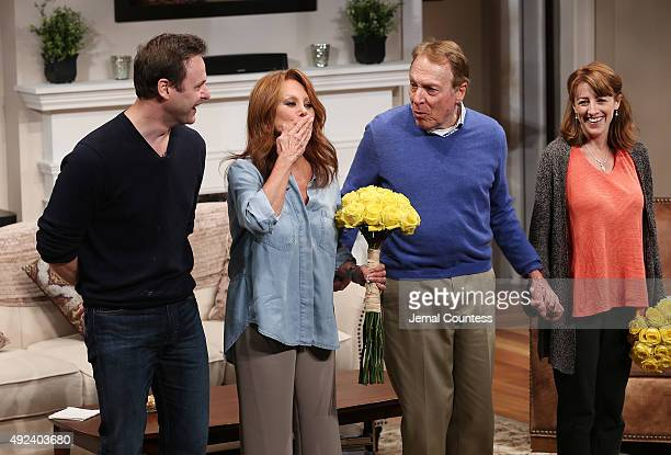 """Actors George Merrick, Marlo Thomas, Greg Mullavey and Kate Wetherhead take a bow during curtain call at the opening night of """"Clever Little Lies"""" at..."""