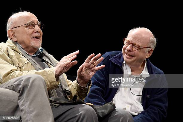 Actors George Morfogen and Wallace Shawn speak on stage during the Tribeca Talks After The Movie Starring Austin Pendleton at SVA Theatre 2 on April...