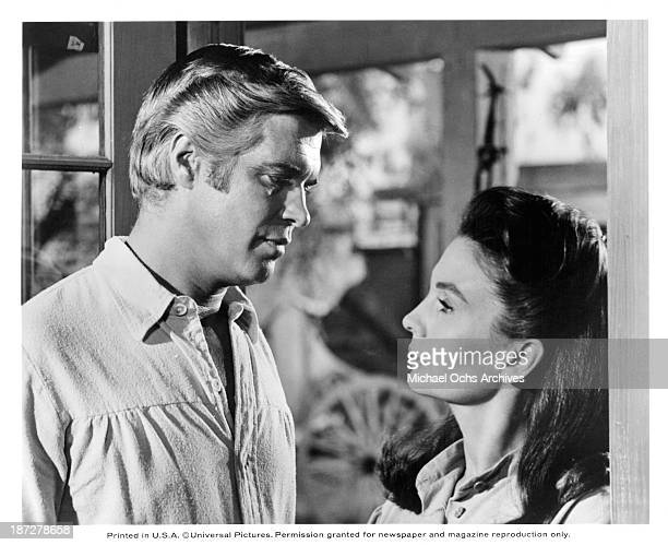 """Actors George Peppard and actress Jean Simmons on set of the Universal Studio movie """"Rough Night in Jericho"""" in 1967."""