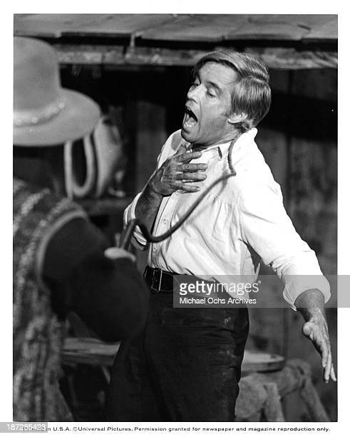 Actors George Peppard on set of the Universal Studio movie Rough Night in Jericho in 1967