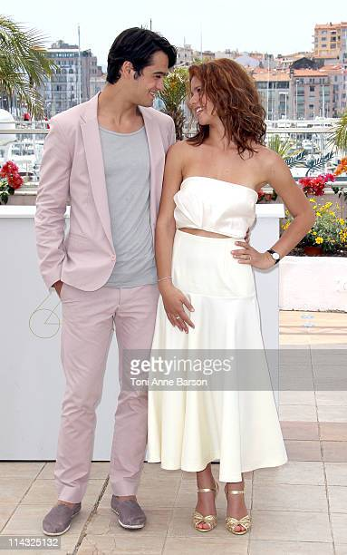 Actors George Pistereanu and Ada Condeescu attend the Loverboy Photocall during the 64th Cannes Film Festival at the Palais des Festivals on May 18...
