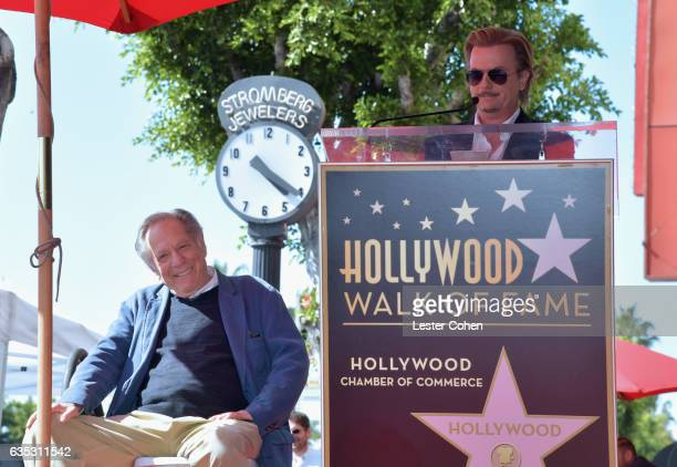 Actors George Segal and David Spade attend George Segal's star ceremony on the Hollywood Walk of Fame on February 14, 2017 in Los Angeles, California.