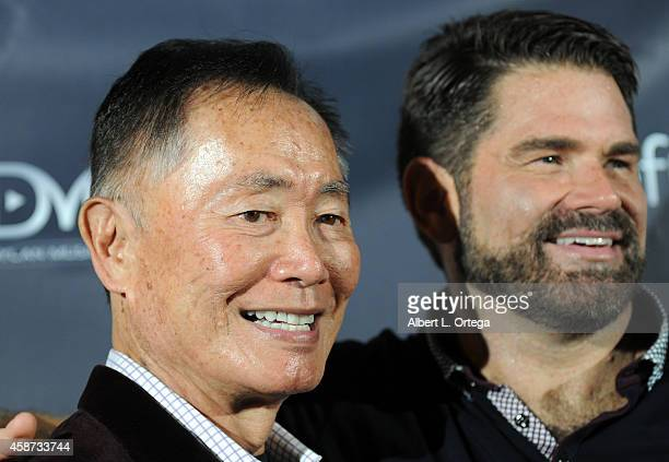 Actors George Takei and Matt Zarley arrive for the Special Screening of Matt Zarley's hopefulROMANTIC With George Takei held at American Film...
