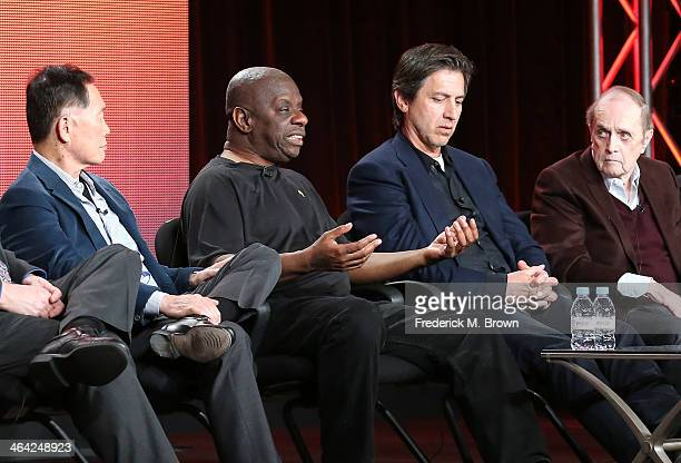 Actors George Takei Jimmie Walker Ray Romano and Bob Newhart speak onstage during the 'Pioneers of Television Season 4 'Acting Funny' 'Breaking...