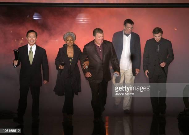 Actors George Takei, Nichelle Nichols, William Shatner, Leonard Nimoy and Walter Koenig accept the Discretionary Award for the 25th Anniversary...
