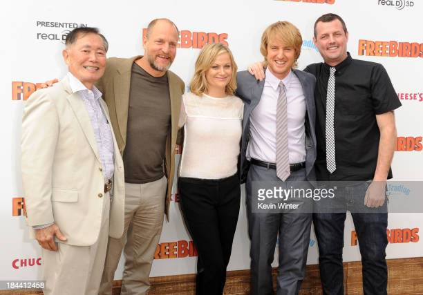 "Actors George Takei, Woody Harrelson, Amy Poehler and Owen Wilson and director Jimmy Hayward attend the premiere of Relativity Media's ""Free Birds""..."