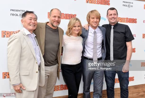"Actors George Takei, Woody Harrelson, Amy Poehler, Owen Wilson and director Jimmy Hayward arrive at the premiere of Relativity Media's ""Free Birds""..."