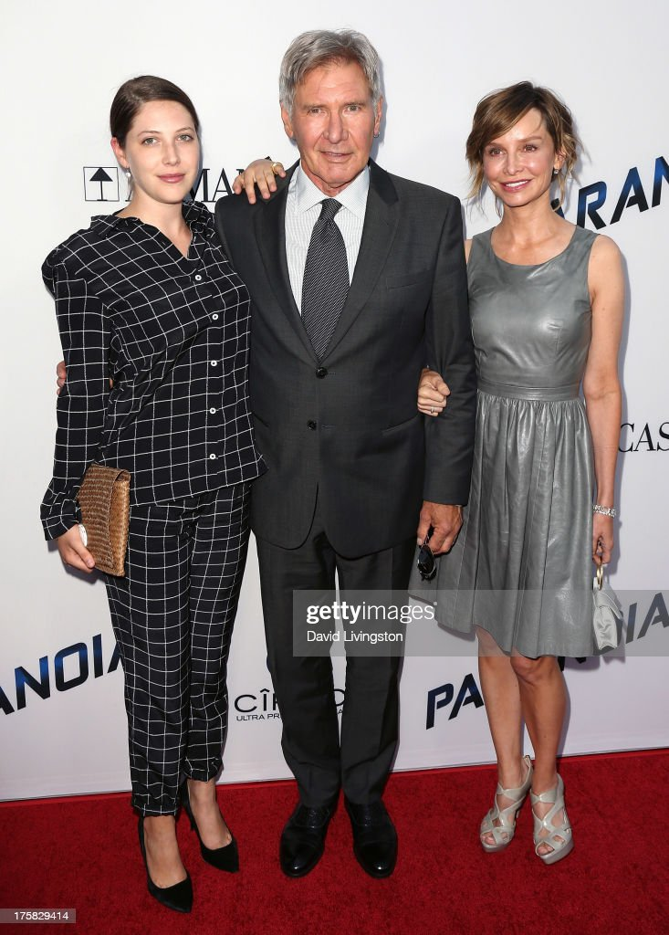 Actors Georgia Ford, Harrison Ford and Calista Flockhart attend the premiere of Relativity Media's 'Paranoia' at the DGA Theater on August 8, 2013 in Los Angeles, California.