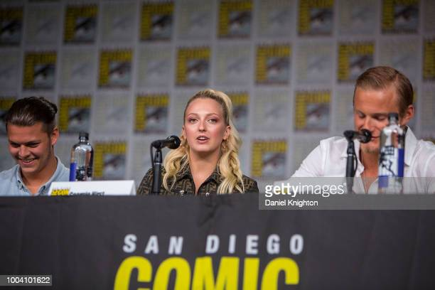 Actors Georgia Hirst Alexander Ludwig and Clive Standen attend the Vikings panel at ComicCon International on July 20 2018 in San Diego California