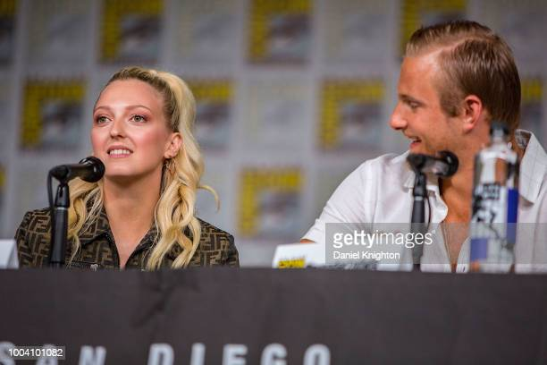 Actors Georgia Hirst and Alexander Ludwig attend the Vikings panel at ComicCon International on July 20 2018 in San Diego California