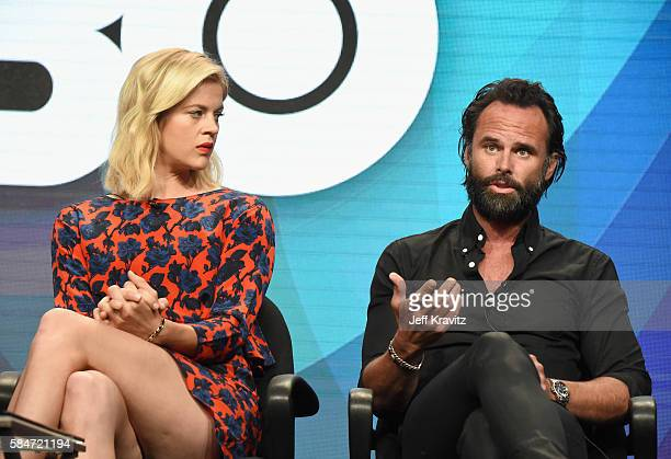 Actors Georgia King and Walton Goggins speak onstage during the 'Vice Principals' panel discussion at the HBO portion of the 2016 Television Critics...