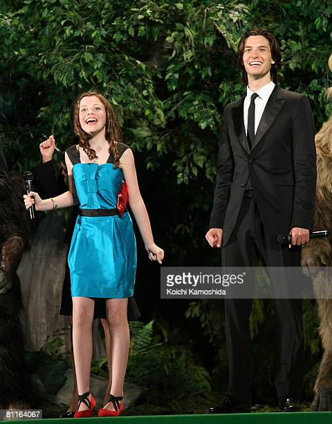 Actors Georgie Henley and Ben Barnes attend 'The Chronicles of Narnia Prince Caspian' Japan Premiere at Roppongi Hills Arena on May 20 2008 in Tokyo...