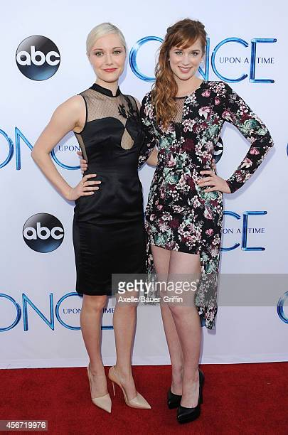 Actors Georgina Haig and Elizabeth Lail arrive at ABC's 'Once Upon A Time' Season 4 Red Carpet Premiere at the El Capitan Theatre on September 21...