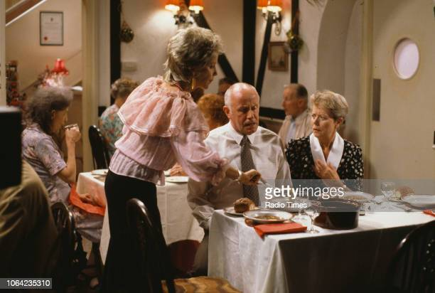 Actors Georgina Hale Annette Crosbie and Richard Wilson in a scene from episode 'Love and Death' of the BBC Television sitcom 'One Foot in the Grave'...