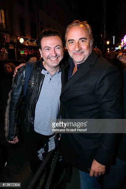 Actors Gerald Dahan and Antoine Dulery attend the 'Ivo Livi ou le destin d'Yves Montand' Theater Play at Theatre de la Gaite Montparnasse on October...