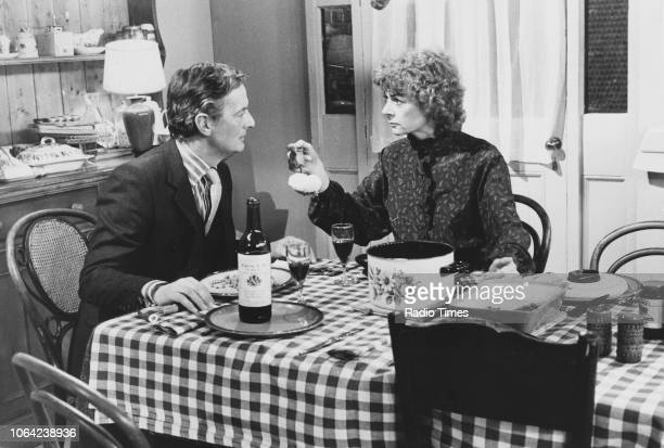 Actors Geraldine McEwan and Francis Matthews in a dining room scene from episode 'The Grand Gesture' of the television sitcom 'Tears Before Bedtime'...
