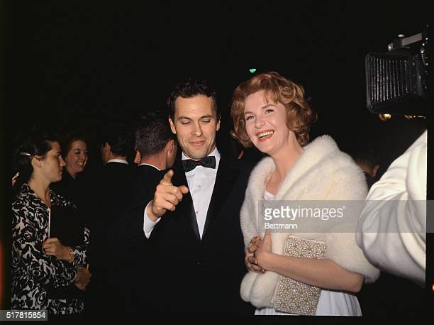 Actors Geraldine Page and Rip Torn arrive at the Academy Awards