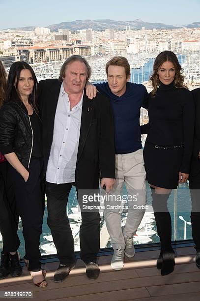 Actors Geraldine Pailhas Gerard Depardieu Benoit Magimel and Nadia Fares attend the 'Marseille' Netflix TV series world premiere at Palais Du Pharo...