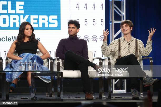 Actors Geraldine Viswanathan Karan Soni and Simon Rich of the TBS television show Miracle Workers speak onstage during the Turner portion of the 2018...