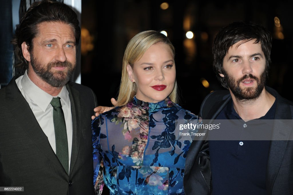 Actors Gerard Butler, Abbie Cornish and Jim Sturgess attend the premiere of Warner Bros. Pictures' 'Geostorm' on October 16, 2017 at the TCL Chinese Theater in Hollywood, California.