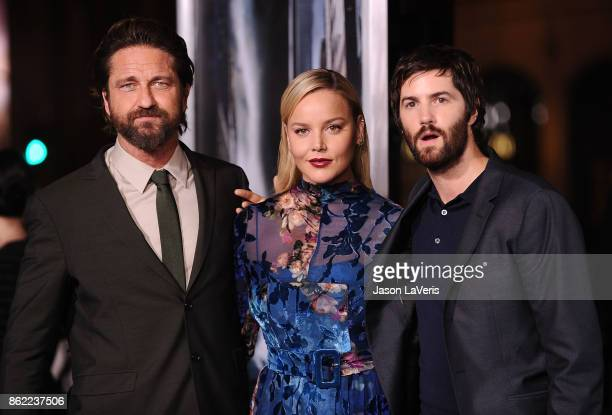 Actors Gerard Butler Abbie Cornish and Jim Sturgess attend the premiere of Geostorm at TCL Chinese Theatre on October 16 2017 in Hollywood California