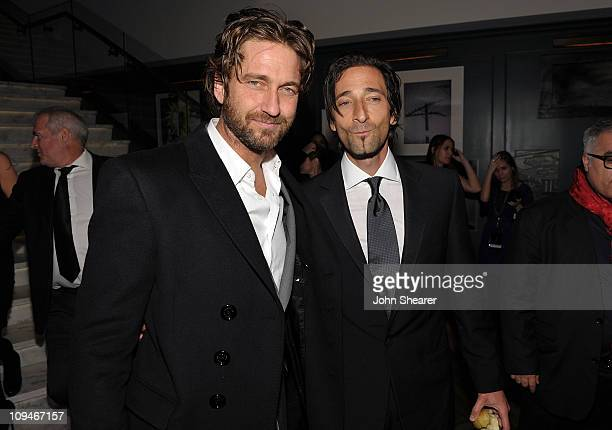Actors Gerard Butler and Adrien Brody arrive at the Montblanc Cocktail Party cohosted by Harvey and Bob Weinstein celebrating the Weinstein Company's...