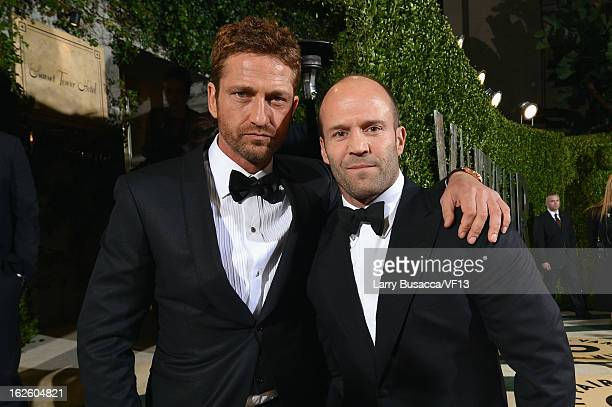 Actors Gerard Butler and Jason Statham arrives for the 2013 Vanity Fair Oscar Party hosted by Graydon Carter at Sunset Tower on February 24 2013 in...