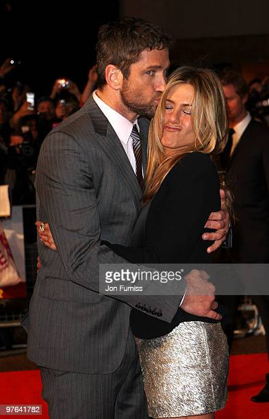 Actors Gerard Butler and Jennifer Aniston attend the Gala Premiere of 'The Bounty Hunter' at Vue Leicester Square on March 11, 2010 in London,...