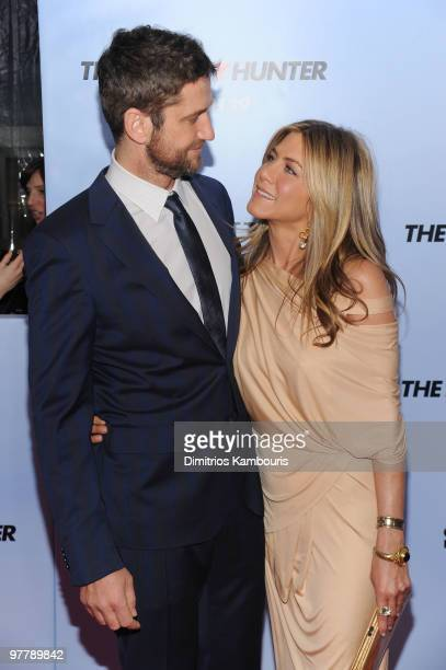 Actors Gerard Butler and Jennifer Aniston attend the premiere of 'The Bounty Hunter' at Ziegfeld Theatre on March 16 2010 in New York New York City