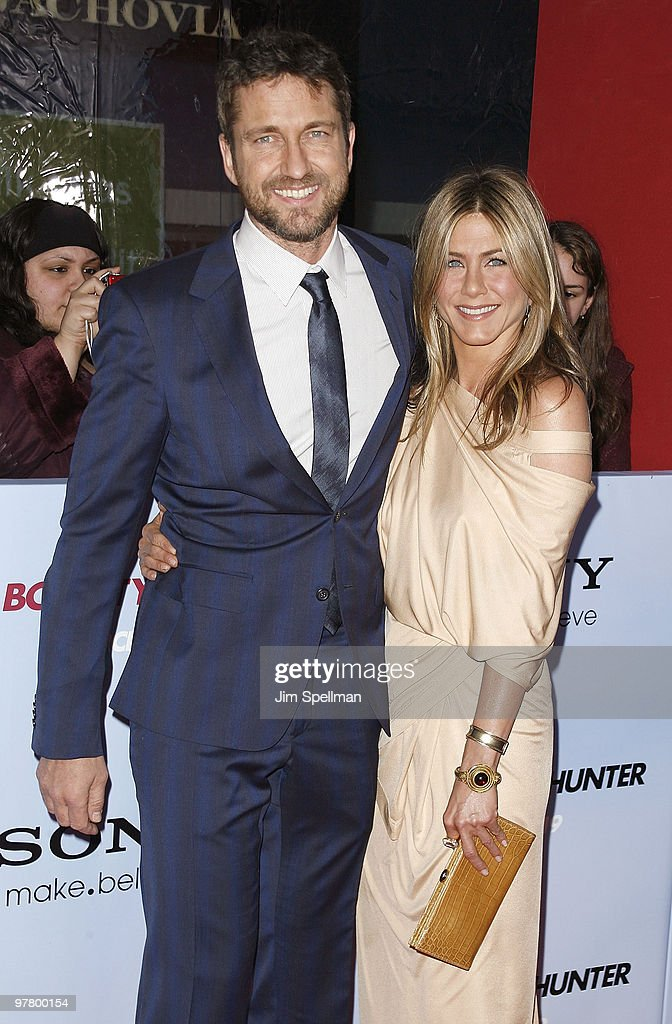 Actors Gerard Butler and Jennifer Aniston attend the premiere of 'The Bounty Hunter' at the Ziegfeld Theatre on March 16, 2010 in New York City.
