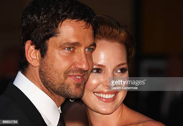 Actors Gerard Butler and Katherine Heigl attend the European premiere of 'The Ugly Truth' at the Vue Leicester Square on August 4 2009 in London...