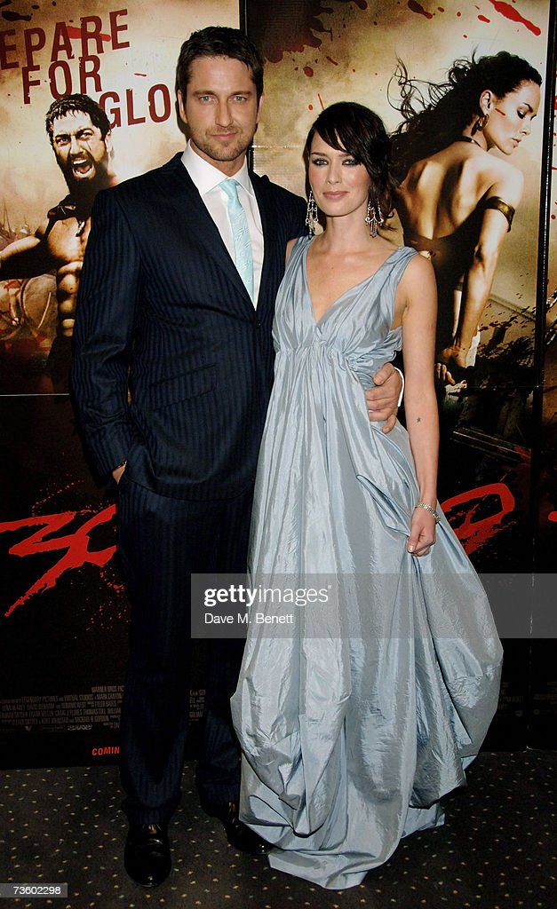 Actors Gerard Butler and Lena Headley arrive at the UK Premiere of '300', at Vue West End on March 15, 2007 in London, England.