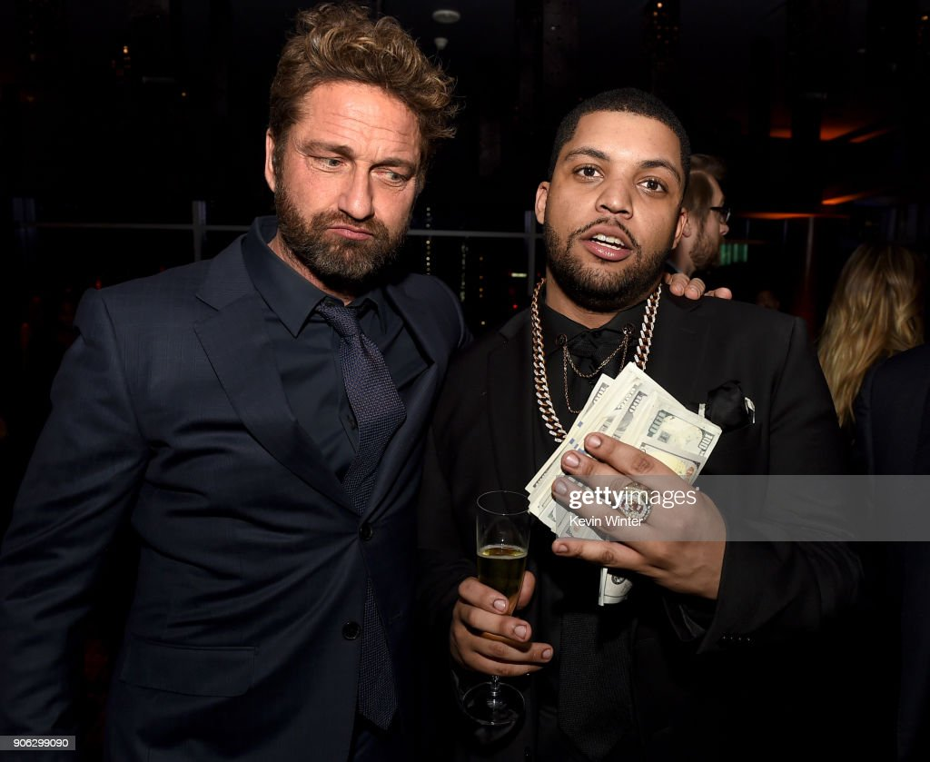 Actors Gerard Butler (L) and O'Shea Jackson Jr. attend the after party for the premiere of STX Films' 'Den Of Thieves' at WP24 Restaurant in Los Angeles, California.