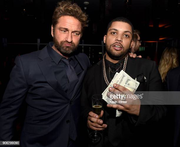 Actors Gerard Butler and O'Shea Jackson Jr attend the after party for the premiere of STX Films' 'Den Of Thieves' at WP24 Restaurant in Los Angeles...