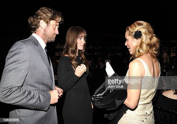 Actors Gerard Butler Olivia Wilde and Maria Bello attend the Bvlgari private event honoring Simon Fuller and Paul Haggis to benefit Save The Children...