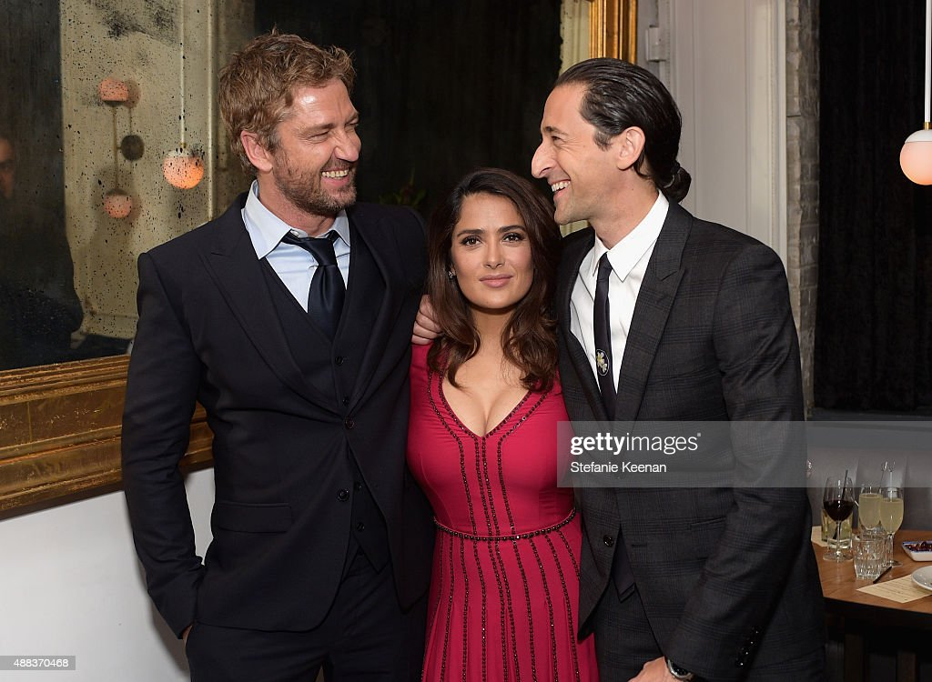 Actors Gerard Butler, Salma Hayek and Adrien Brody attend the Septembers of Shiraz TIFF Party Hosted By GREY GOOSE Vodka at Byblos on September 15, 2015 in Toronto, Canada.