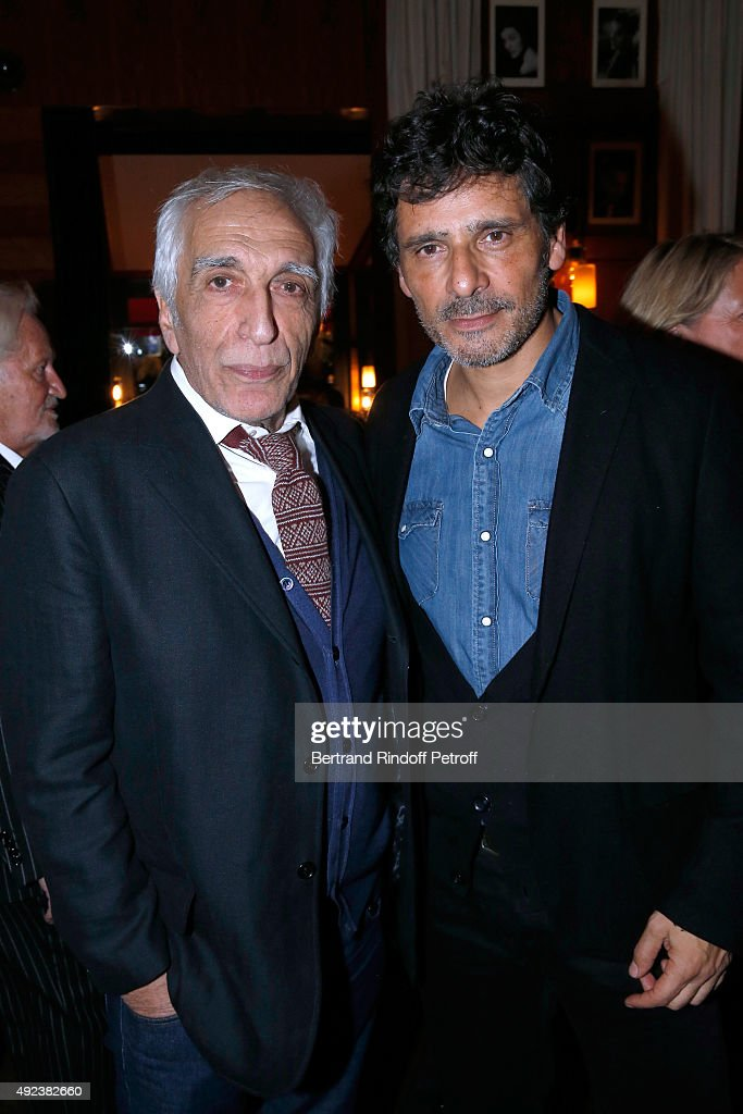 Actors Gerard Darmon and Pascal Elbe attend the Fouquet's Paris Restaurant presents its Menu 'Twisted' by the Chef Pierre Gagnaire. Held at Le Fouquet's on October 12, 2015 in Paris, France.