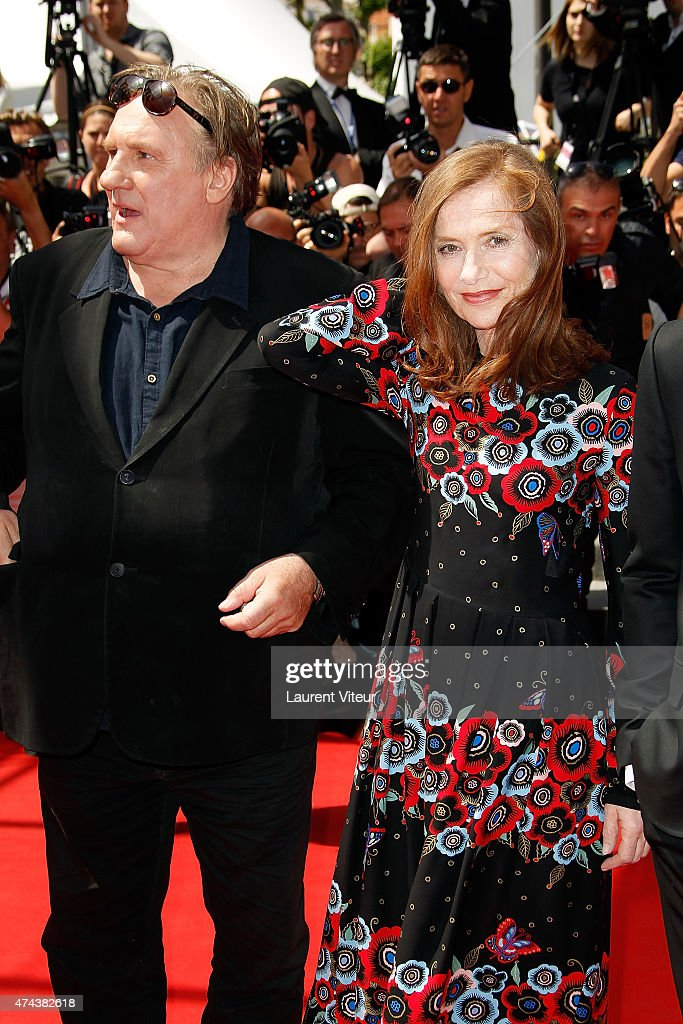 Actors Gerard Depardieu and Isabelle Huppert attend the 'Valley Of Love' premiere during the 68th annual Cannes Film Festival on May 22, 2015 in Cannes, France.