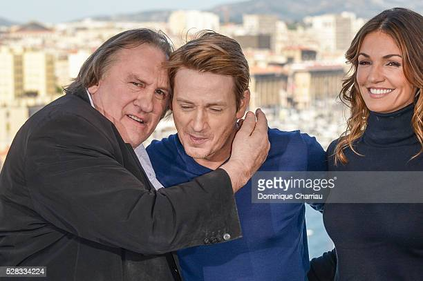 Actors Gerard Depardieu Benoit Magimel and Nadia Fares attend the 'Marseille' Netflix TV Serie Wold Premiere At Palais Du Pharo In Marseille on May 4...