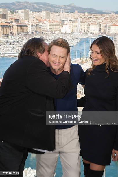 Actors Gerard Depardieu Benoit Magimel and Nadia Fares attend the 'Marseille' Netflix TV series world premiere at Palais Du Pharo on May 4 2016 in...