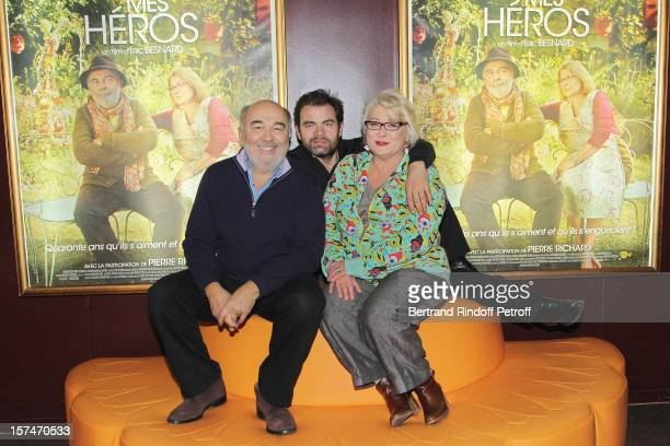 Actors Gerard Jugnot Clovis Cornillac and Josiane Balasko attend the Paris premiere of their movie 'Mes Heros' at Cinema Gaumont Marignan on December...