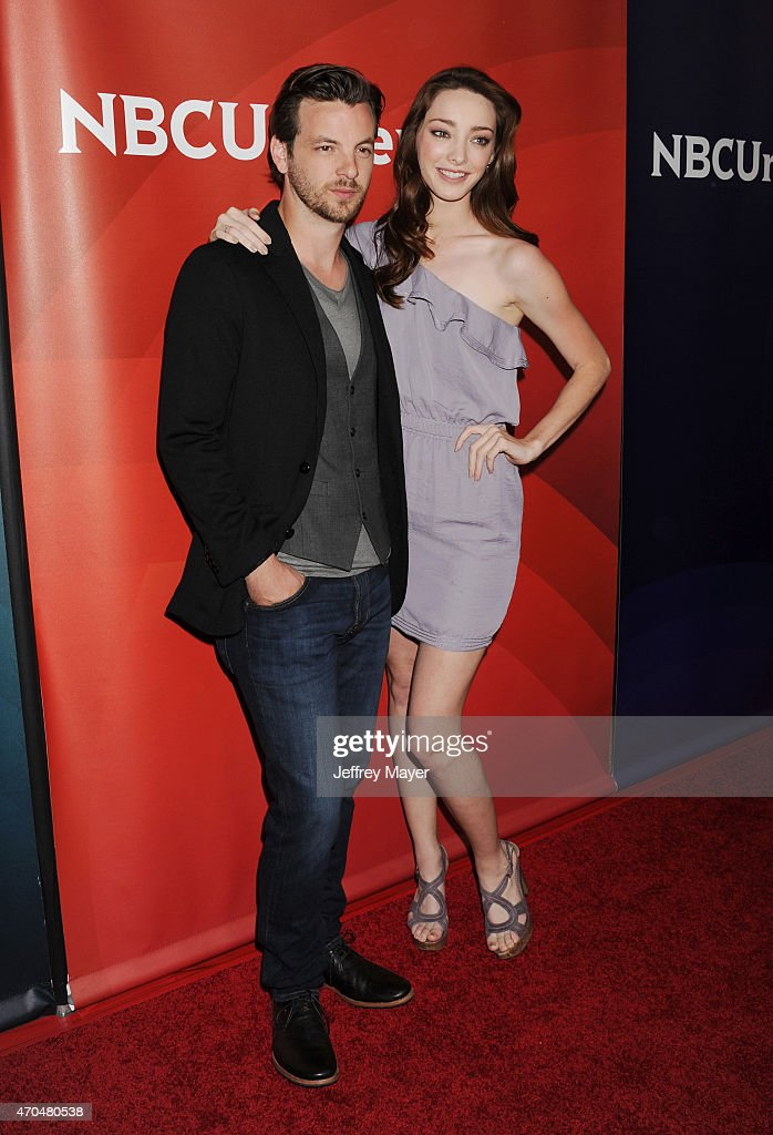 Actors Gethin Anthony (L) and Emma Dumont attend the 2015 NBCUniversal Summer Press Day held at the The Langham Huntington Hotel and Spa on April 02, 2015 in Pasadena, California.