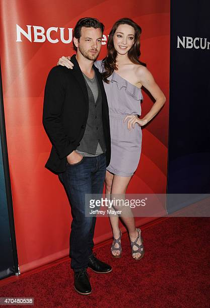Actors Gethin Anthony and Emma Dumont attend the 2015 NBCUniversal Summer Press Day held at the The Langham Huntington Hotel and Spa on April 02 2015...