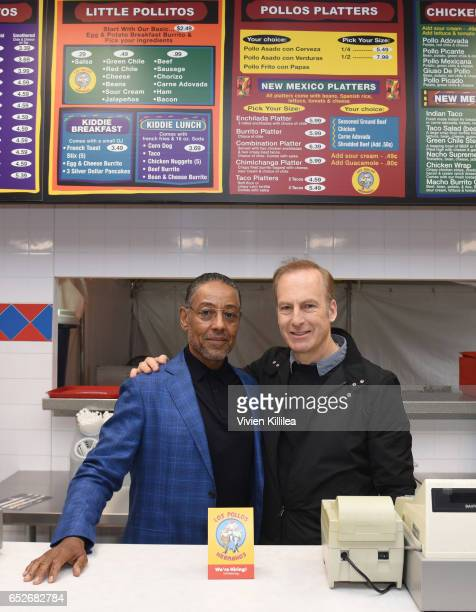 Actors Giancarlo Esposito and Bob Odenkirk attend AMC's Better Call Saul Los Pollos Hermanos PopUp shop with Bob Odenkirk and Giancarlo Esposito on...