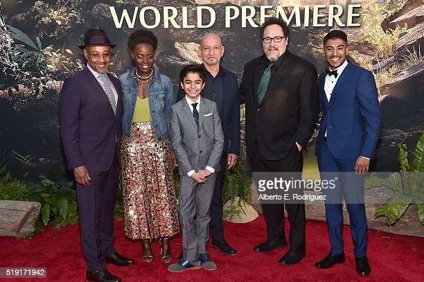 Actors Giancarlo Esposito Lupita Nyong'o Neel Sethi Sir Ben Kingsley director Jon Favreau and actor Ritesh Rajan attend The World Premiere of...