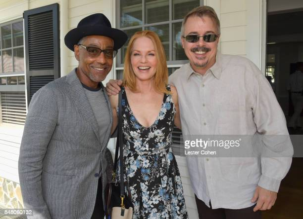 Actors Giancarlo Esposito Marg Helgenberger and producer Vince Gilligan attend the ICM Partners PreEmmy Brunch on September 16 2017 in Santa Monica...