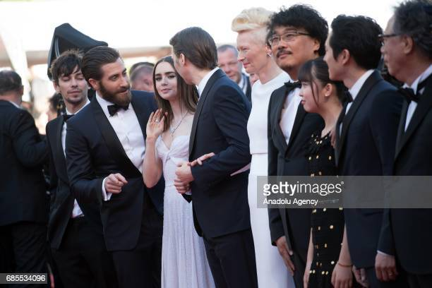 Actors Giancarlo Esposito Steven Yeun and Ahn SeoHyun director Bong JoonHo and actors Tilda Swinton Paul Dano Lily Collins Jake Gyllenhaal and Devon...